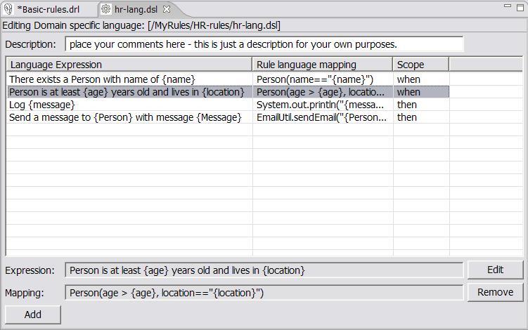 Editing language