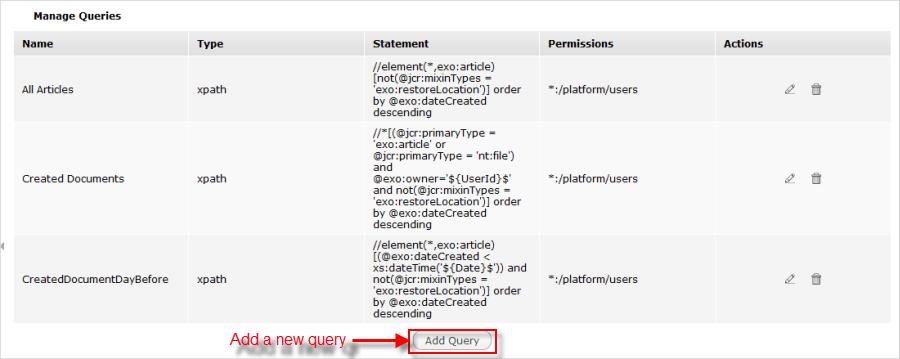 Manage queries