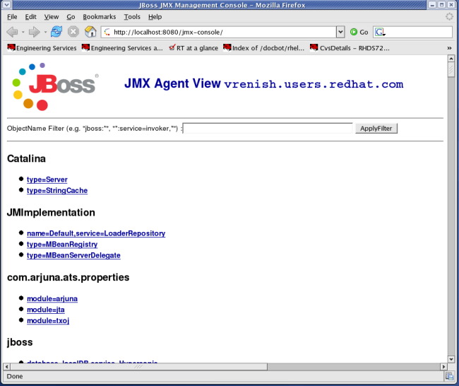 View of the JMX Management Console Web Application