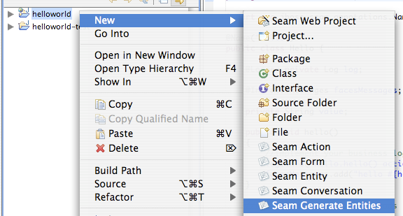 Chapter 3  Getting started with Seam, using JBoss Tools
