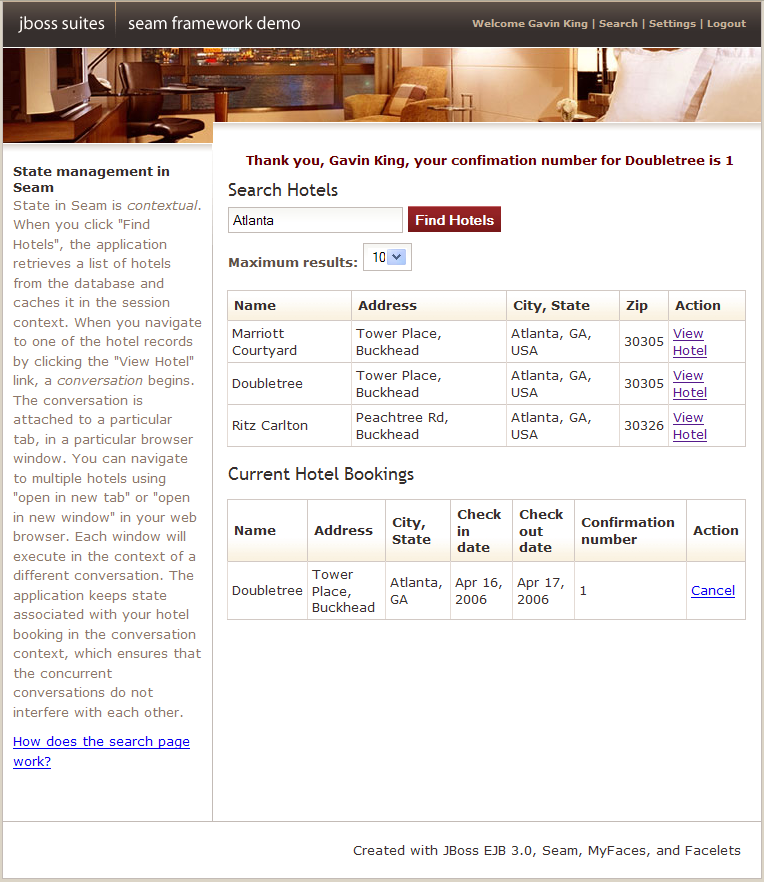 Seam contextual components for Hotel booking design