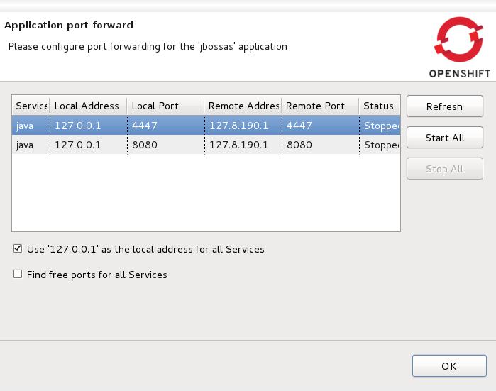 The Application port forward dialog window.