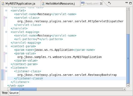 web xml sample: